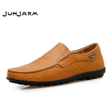 JUNJARM Handmade Mens Loafers Split Leather Men Driving Shoes Breathable Casual Mens Moccasins Shoes Plus Size 38-46