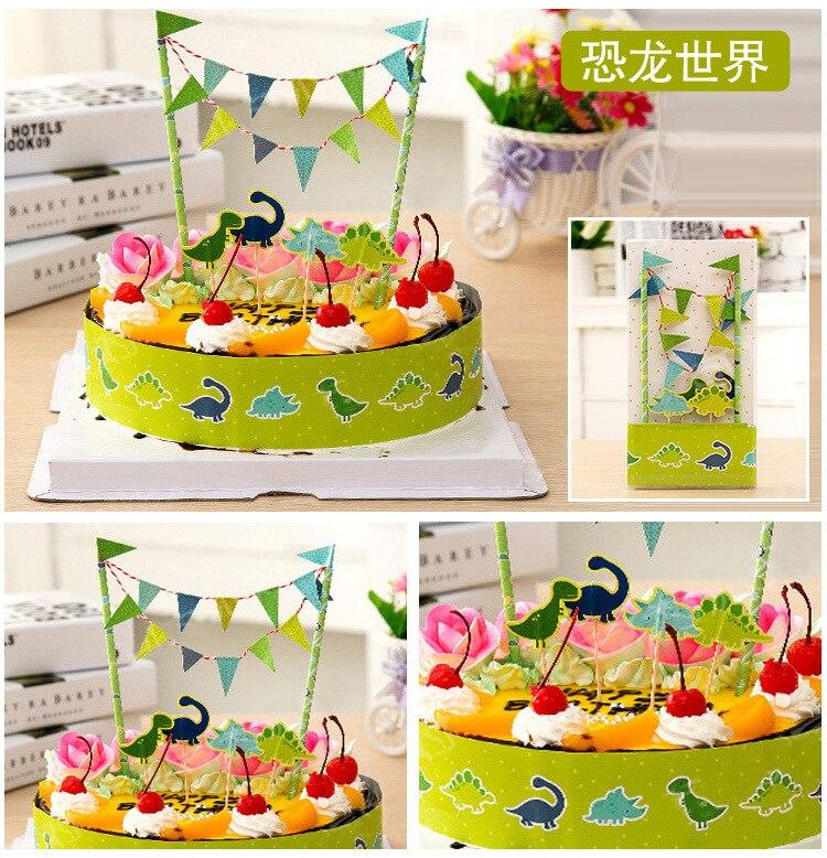 Cake Decor Group : Dinosaur Birthday Party Wedding Cake Topper Cake Bunting ...