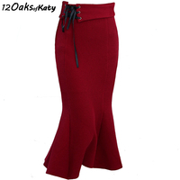 12 OAKS OF KATY Black And Red S To XXL Autumn And Winter Bandaged High Waist