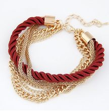 Bohemian Temperament Woven Gold Color Chain Braided Rope Bileklik Multilayer Bracelet Women Jewelry Accessories Pulseras Mujer(China)
