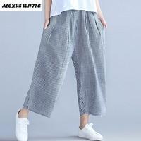 Cotton Linen Harem Pants Women S 2017 Summer Casual Turnip Ninth Pants Plaid Large Size Loose