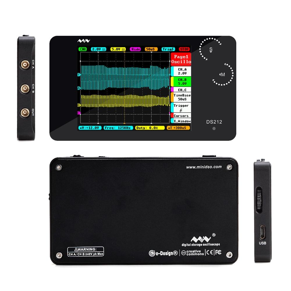 DS212 Digital oscilloscope DSO 2CH logic analyzer USB oscilloscope 2 8 quot Full Color TFT 8MB Memory Storage Bandwidth 1MHz 10MSa s in Oscilloscopes from Tools