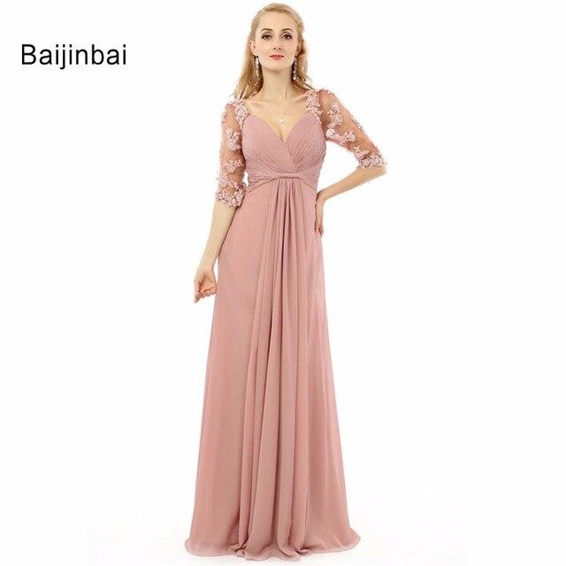 899997b0417 Baijinbai Real Sweet 2018 Women Prom Long Dresses V-Neck Half Nude  Embroidery Robe Soiree