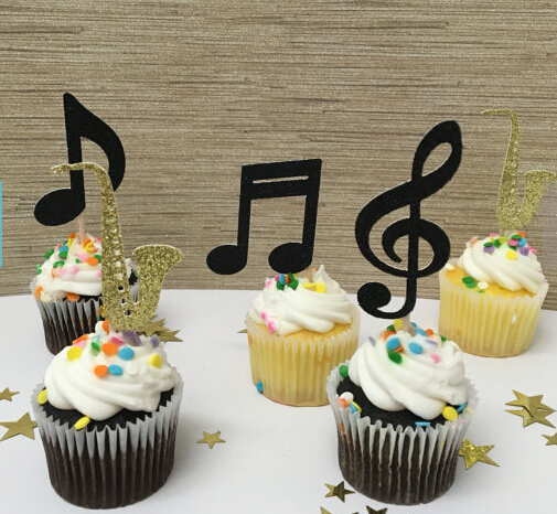 gold glitter saxsophone jazz theme music party new orleans orchestra event cupcake toppers wedding bridal shower toothpicks in cake decorating supplies