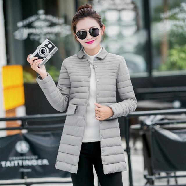 2016 новая мода вниз хлопка куртка женская тонкий длинный хлопка мягкой куртки однобортный пальто красивый outwears зимние куртки