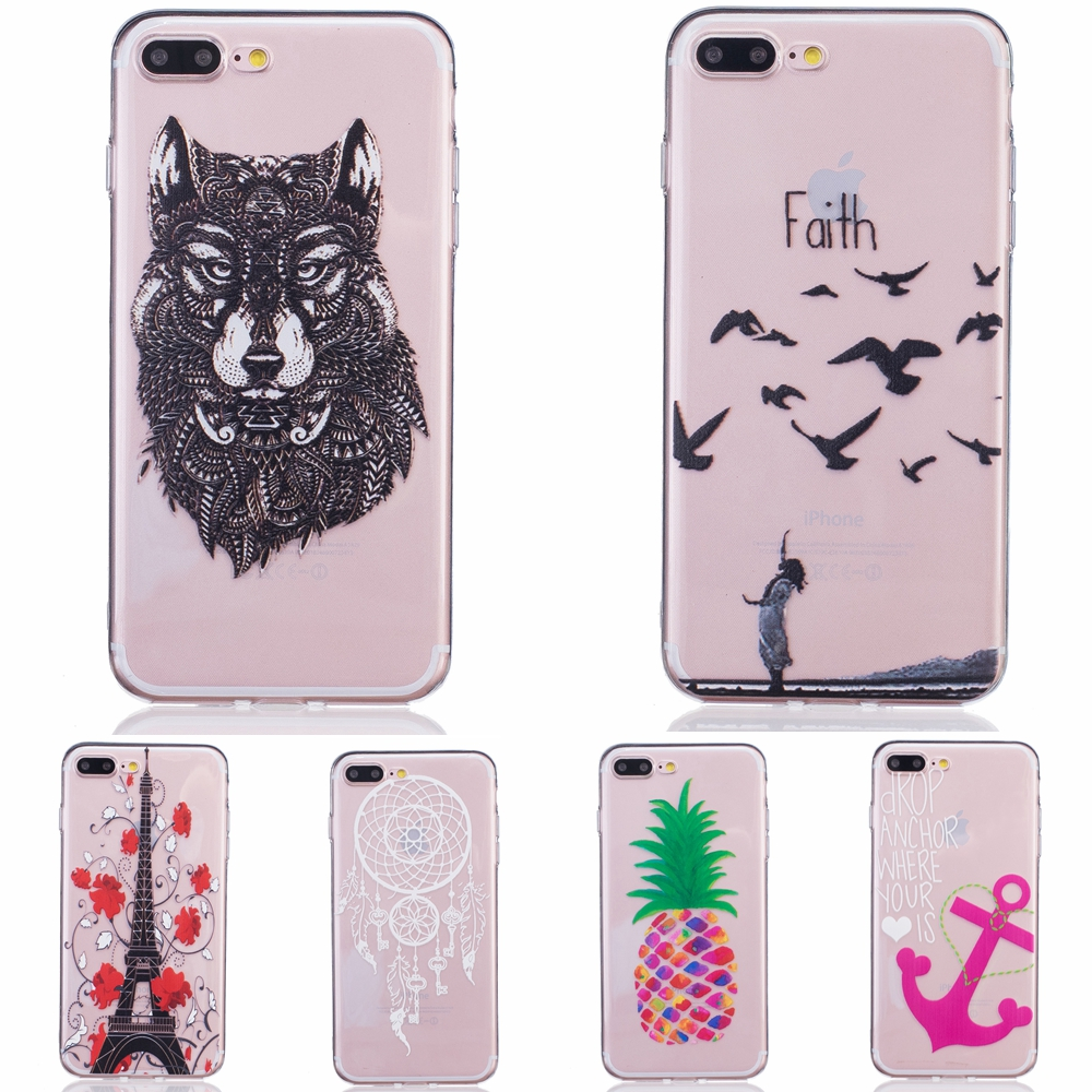 newest 02466 16607 US $1.9 |For iPhone 7 Plus Clear Beauty Girl Butterfly Phone Cases For  Apple iPhone 7 Plus Wolf Fly Bird Pattern Silicone Case Cover Capa on ...