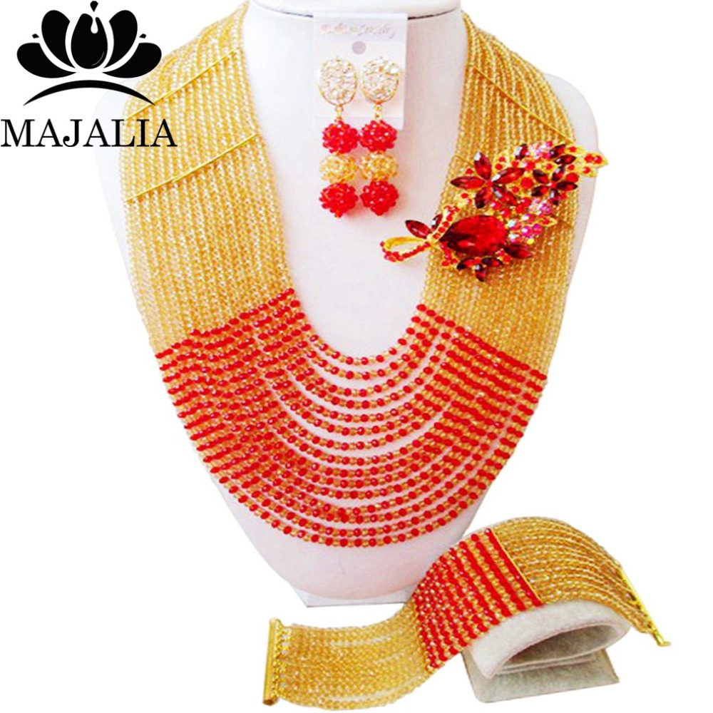 Fashion african jewelry set Gold Champagne nigerian wedding african beads jewelry set Crystal Free shipping Majalia-345Fashion african jewelry set Gold Champagne nigerian wedding african beads jewelry set Crystal Free shipping Majalia-345