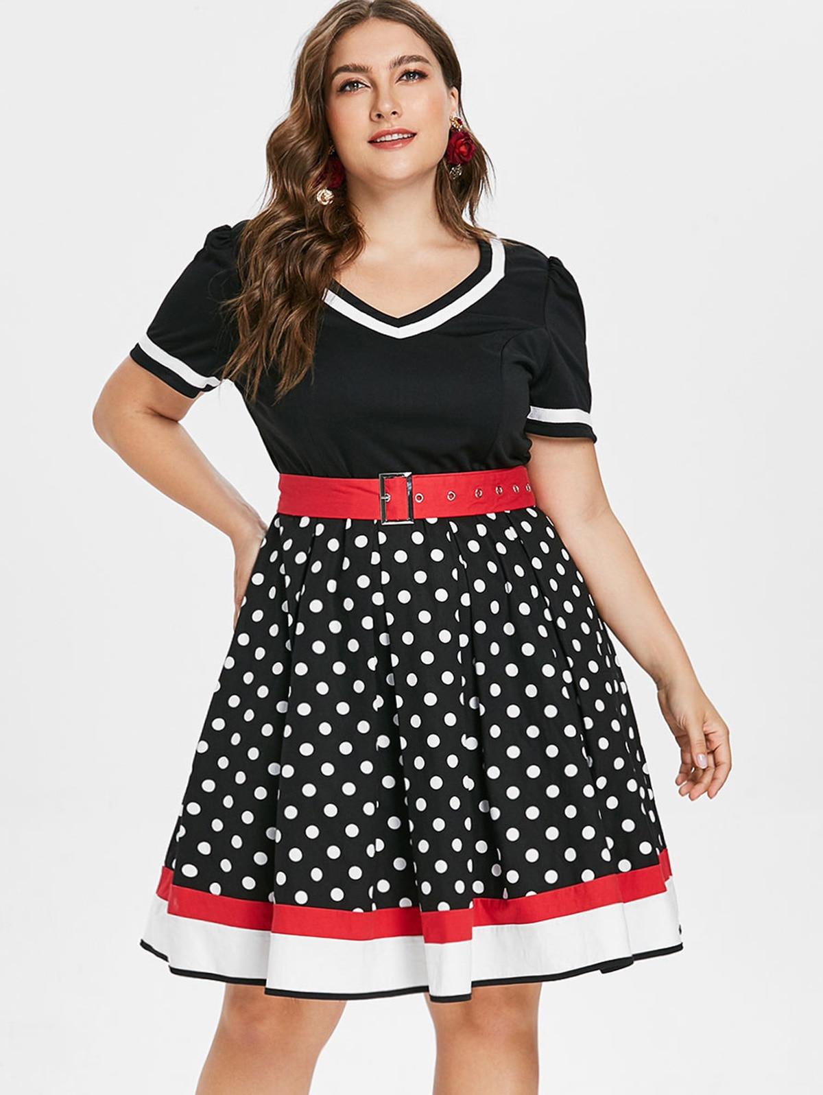 b24516f3969 Wipalo Plus Size Polka Dot Vintage Dress Women Color Block Cotton Belt  Summer Dress Retro 50s