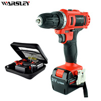 21V Lithium Battery Torque Electric Drill Bit Cordless Electric Screwdriver Plastic Box Mini Drill Electric Drilling