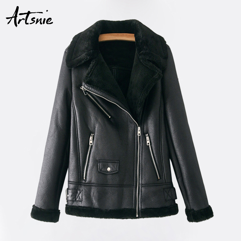 Artsnie Black Casual Faux   Leather   Jackets Women Autumn 2018 Turn Down Collar Long Sleeve Biker Coats Pockets Motorcycle Jacket