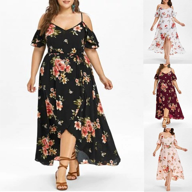 7c6b196c65 PlusSize Fashionable Sexy Printing Off The Shoulder Dress in 2019
