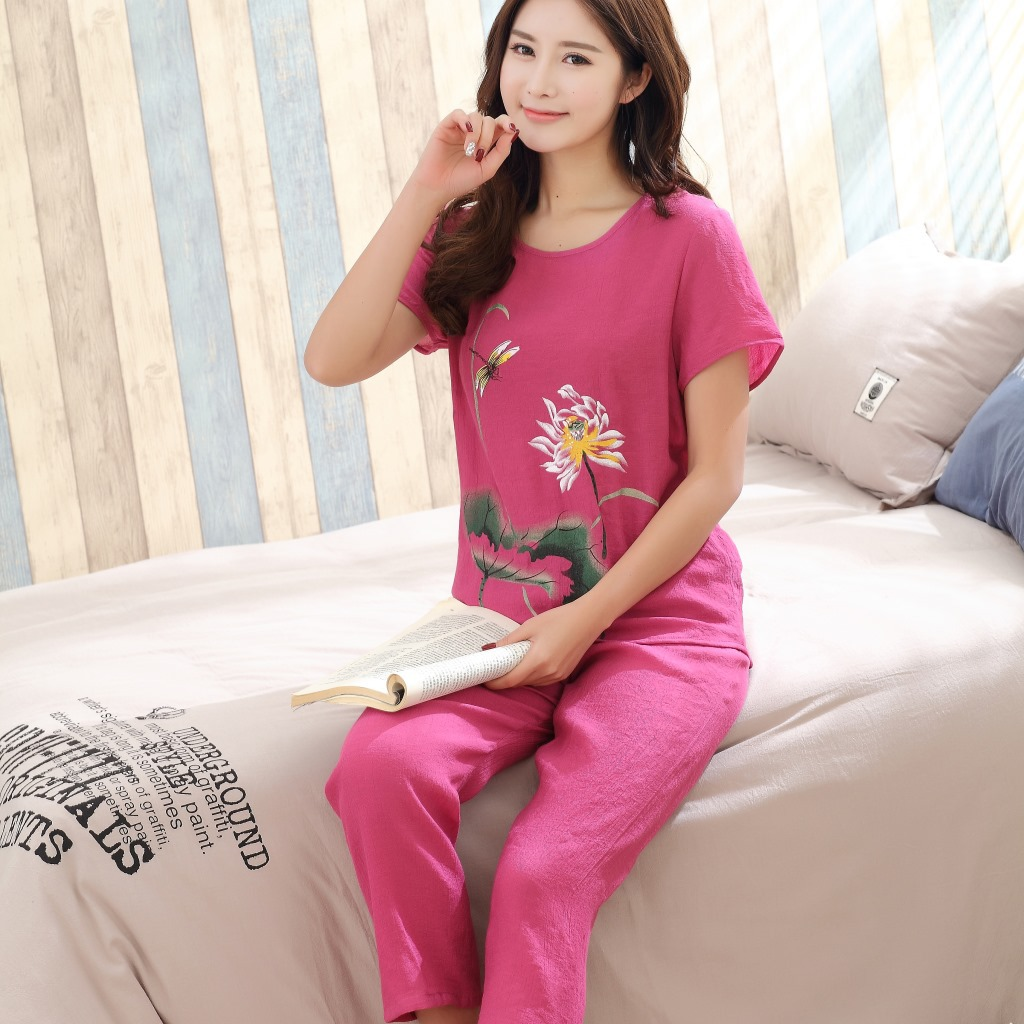 Ladies Pyjamas L XXXXL Soft Comfort Cotton Slubbed Bourette Fabric Flower  Print Short Sleeve Sleepwear Plus Size 80039-in Pajama Sets from Underwear  ... 78d7e14e1