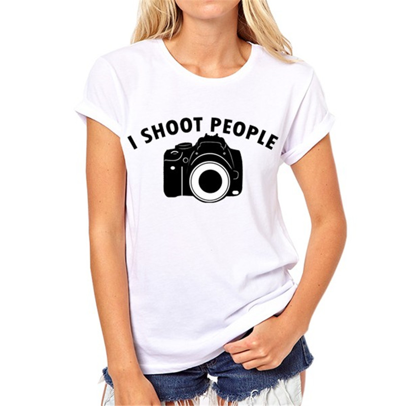 I SHOOT PEOPLE Camera printing fashion T-shirt of a woman Summer girl coat manufacturers selling can be customized A-14#