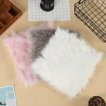 Hot sale Faux Sheepskin Chair Cover 3 Colors Warm Hairy Wool Carpet Seat Pad long Skin Fur Plain Fluffy Area Rugs Washable(China)