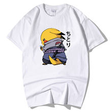 2059e984ab Chidori Sasuke Naruto Pikachu Pokemon T Shirt Men Cotton White Poleras  Hombre Artwork Drawing Print Tees Camiseta Masculina 2019