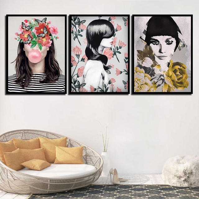Art Print Nordic Posters Pictures Flowers Woman Modern Quotes Canvas
