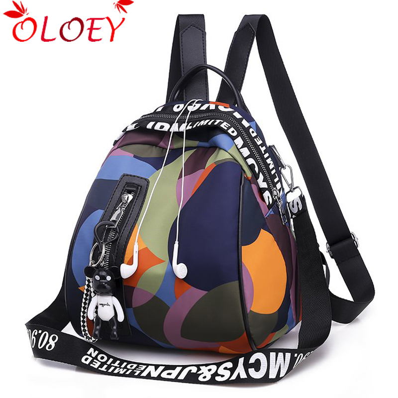 2019 New Ladies Bear Pendant Multifunction Backpack High Quality Youth Color Backpack Girl Casual Large Capacity Bags For Women