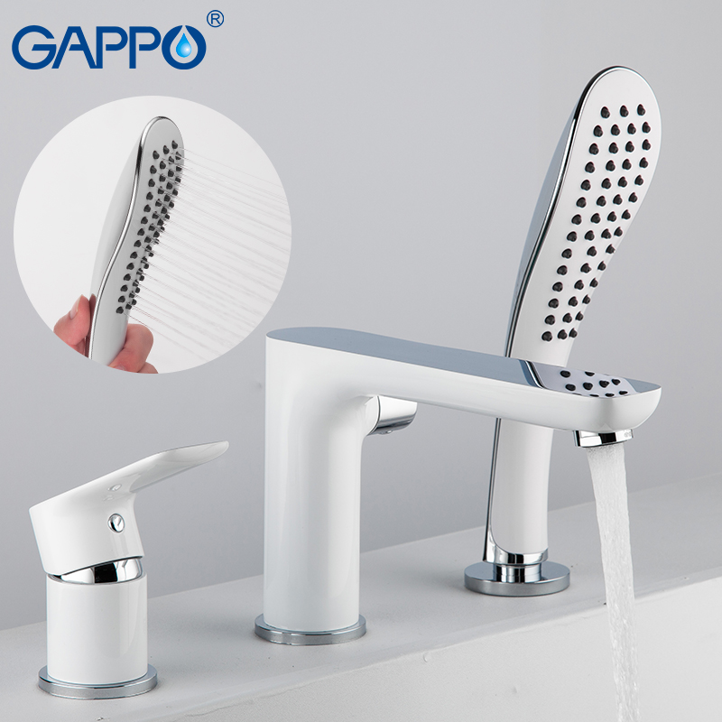 GAPPO Split Type White Lacquered Bathtub Faucet Water Tap Mixer Spray Hand Shower Head Waterfall Bathroom Tub Faucet Bath Shower-in Bathtub Faucets from Home Improvement