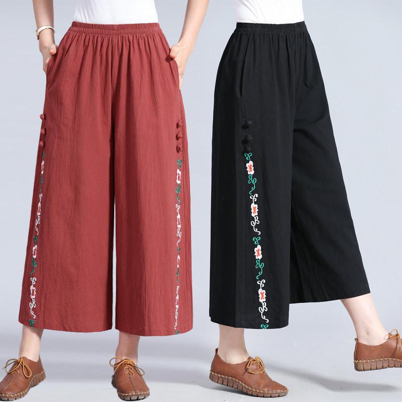 2019 New Spring Women High Waist   Wide     Leg     Pant   Ladies Vintage Floral Embroidery Ankle-Length   Pants   Plus Size 3XL