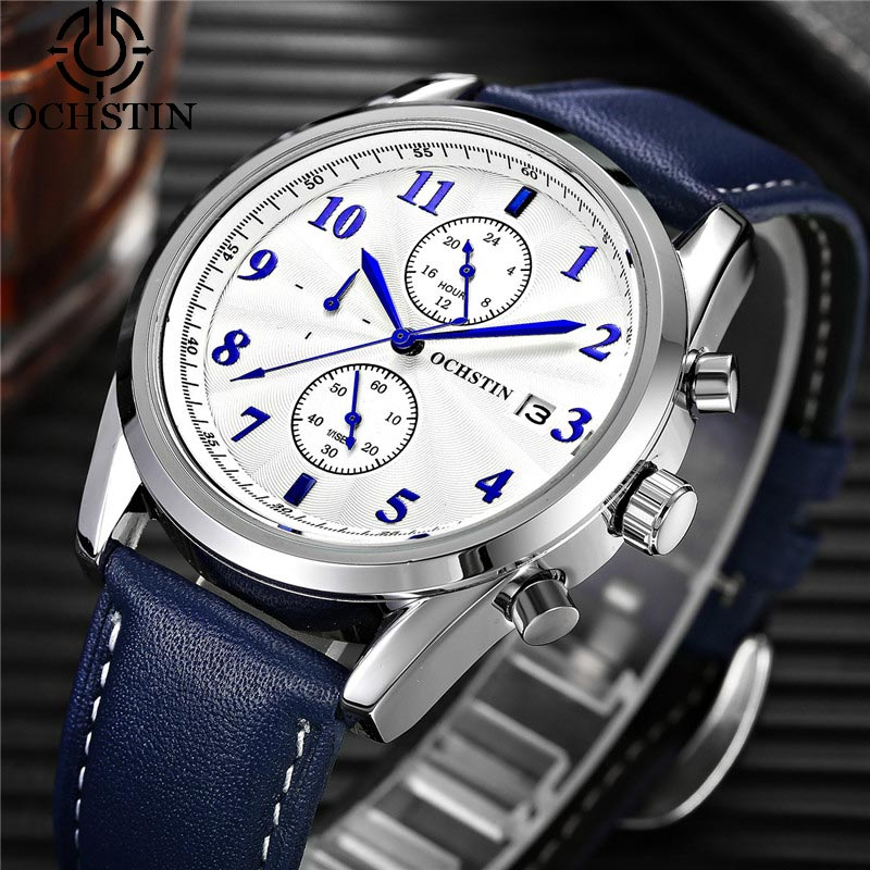 OCHSTIN Chronograph Date Men Watch Top Brand Luxury Military Sport Male Clock Casual Fashion Wrist Quartz Mens Watches Gift 038