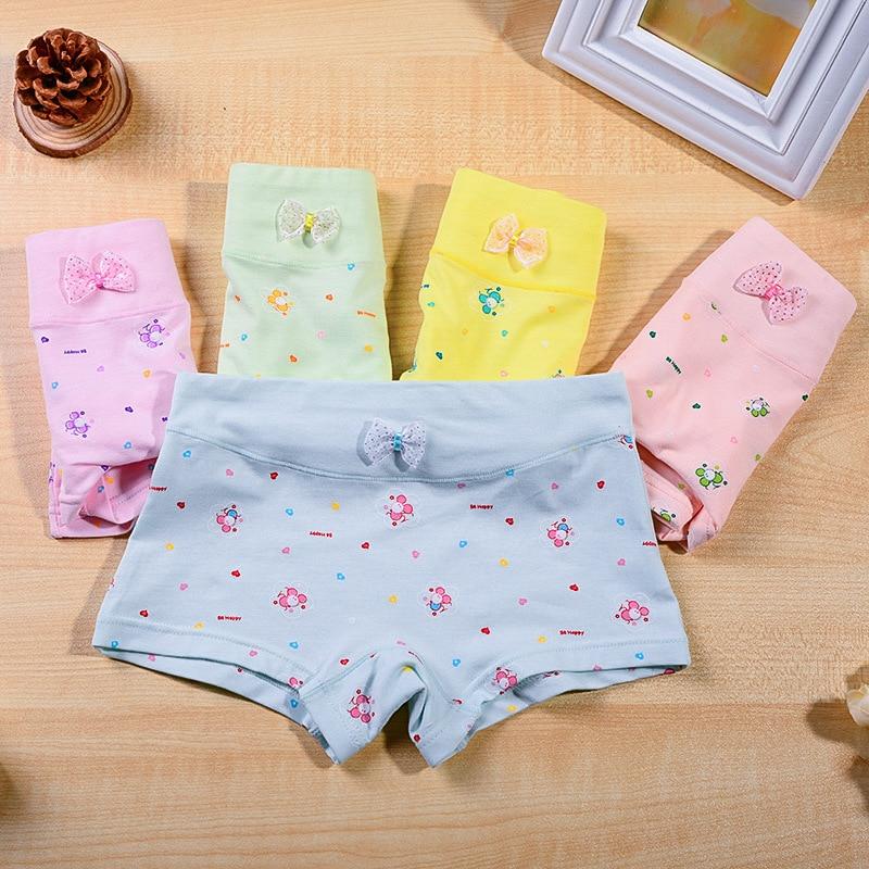 89624c3aa 5 الألوان bowknot الأطفال داخلية ، جديد القطن بنات داخلية ، الكرتون الفتيات  الملاكمين ، فتاة الملاكم السراويل 3-9years