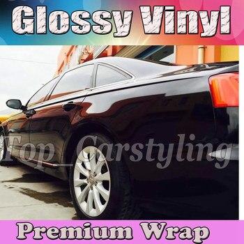 Gloss BLACK Vinyl Car Enrole Film Com Air release ENVOLVIMENTOS Brilhante de piano Brilhante Embrulho Veículo Cobrindo 1.52x30 m /Roll (5ftx98ft)