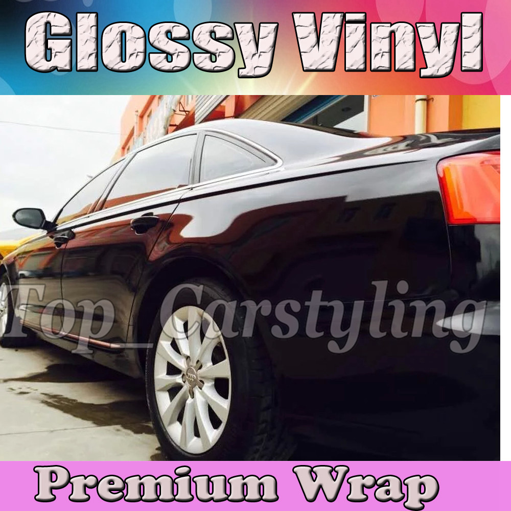 Gloss BLACK Vinyl Car Enrole Film Com Air release PROTWRAPS Brilhante Embrulho Veículo Cobertura de piano Brilhante 1.52x30 m/Roll (5ftx98ft)