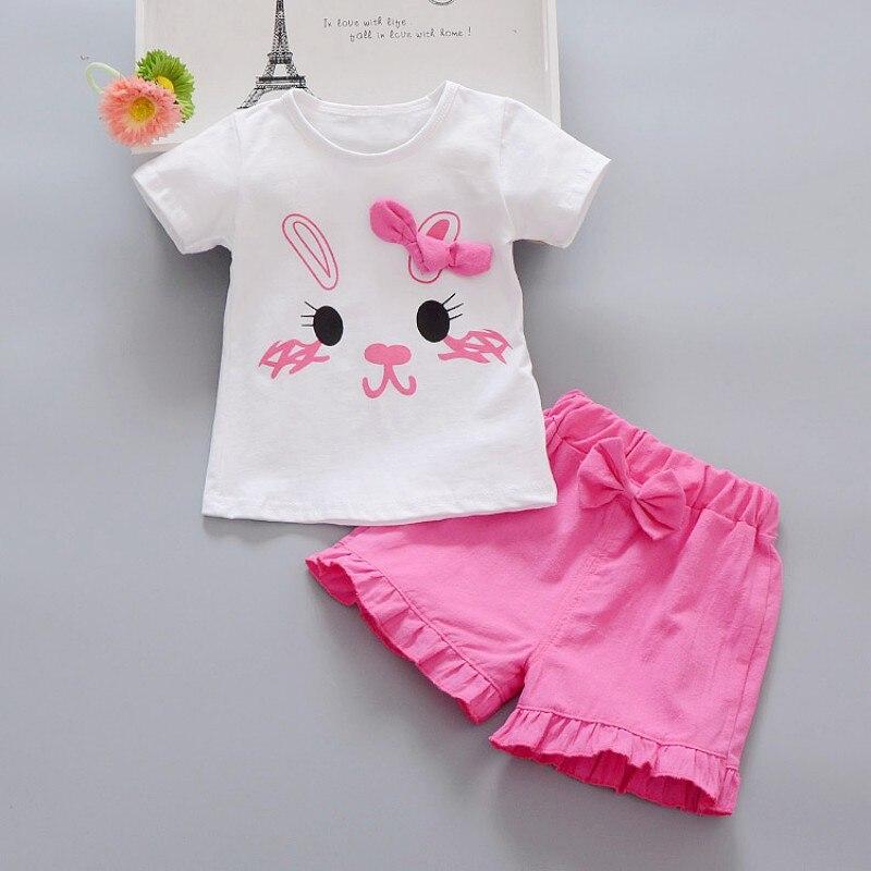 Chidlren's Sets Summer Baby Girl Casual Cartoon Rabbit Print Short Sleeve T-shirt Tops Shorts Outfits Set