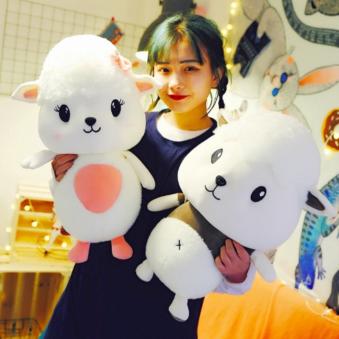 WYZHY New creative cute soft small Meng sheep doll plush toy sofa bedroom decoration send friends children gifts 40cm in Stuffed Plush Animals from Toys Hobbies