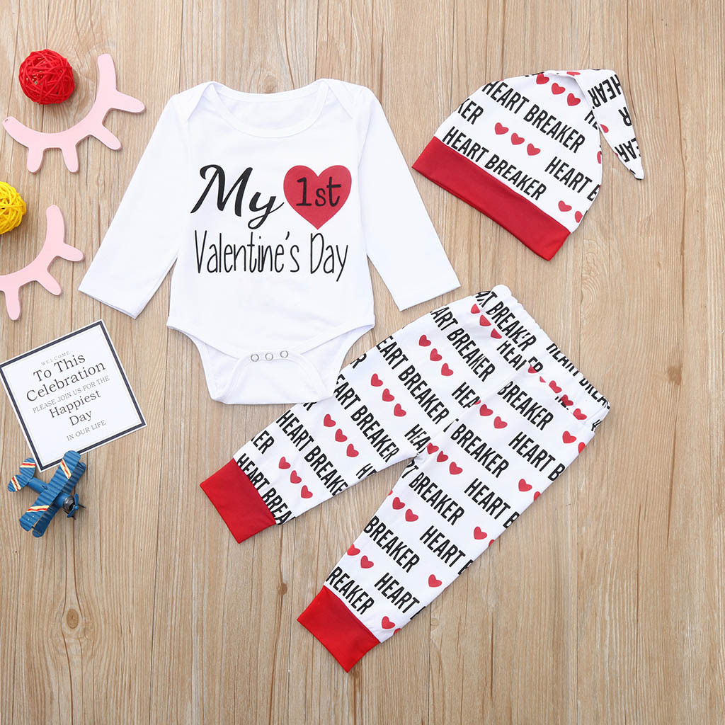 3PCS Newborn Baby Boy Girl Letter Romper Tops+Pants+Hat Kid Valentine Outfit Set