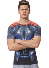 Red Plume Men's Compression Tights Fitness Sport T-shirt, Super Movie Hero Thor T-Shirt