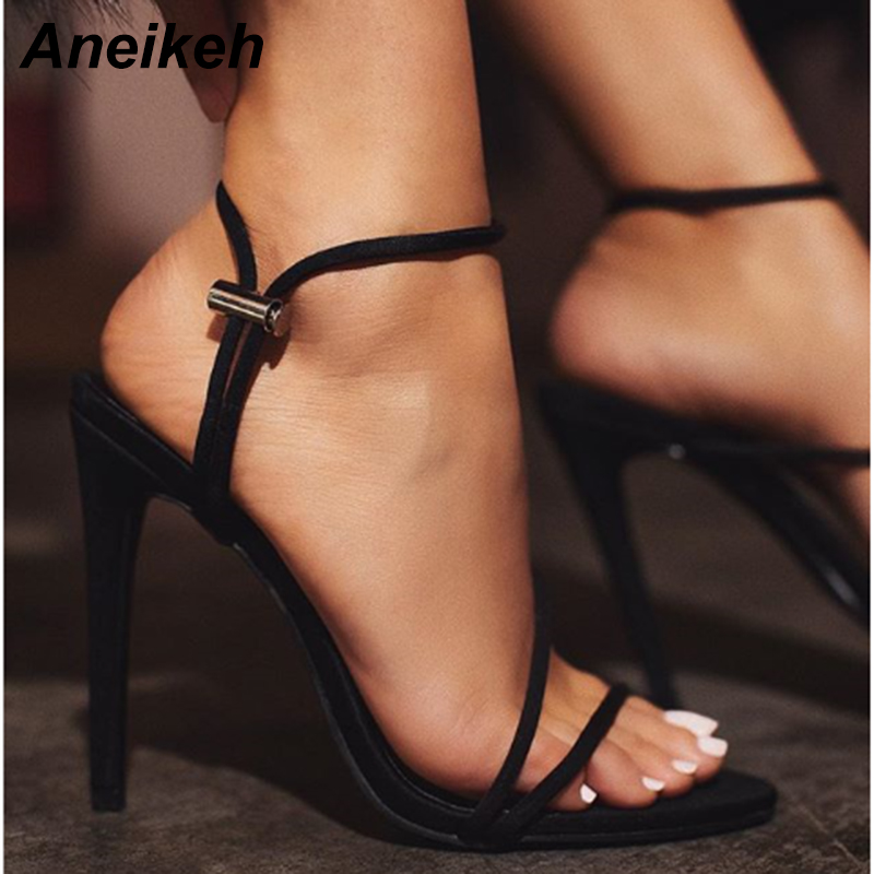 HTB1336na5frK1RjSspbq6A4pFXam Aneikeh 2019 New Fashion Sandals Ankle Strap Cross-Strap Woman Sandals 12CM High Heels Narrow Band Slip-On Sandals Dress Pumps