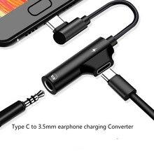 2 in 1 Oortelefoon Type C naar 3.5mm Adapter Audio Jack Hoofdtelefoon Kabel Sync Oplaadkabel USB Type  C naar Jack Aux Voor Xiaomi Huawei
