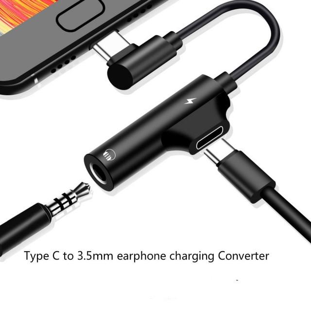 2 in 1 이어폰 유형 c ~ 3.5mm 어댑터 오디오 잭 헤드폰 케이블 동기화 충전 케이블 xiaomi huawei 용 usb type c 잭 aux