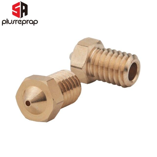5/10pcs M6 Threaded Nozzle Full Metal 0.2/0.3/0.4/0.5/0.6mm Optional for 1.75/3.0mm Filament V5 V6 Hotend Extruder 3D Printer 2