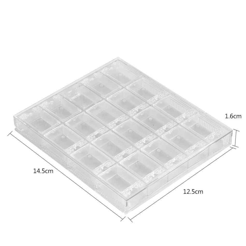 20 балок акриловый Макияж органайзер хранение для принадлежностей для дизайна ногтей коробка прозрачный витринный футляр-Органайзер держатель для ювелирных изделий ногтей горный хрусталь бусины коробка