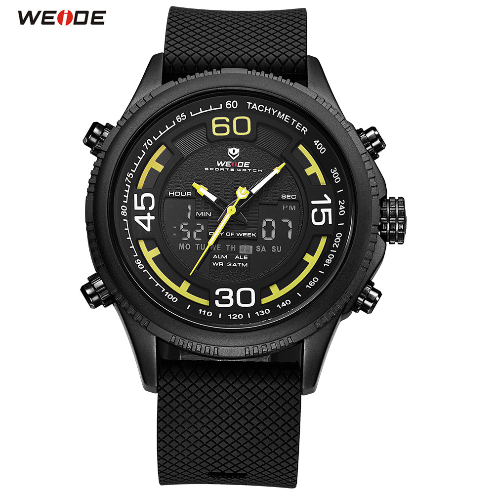 2018 Fashion Brand WEIDE LED Men Rubber Band Black Yellow Watch Sport Watch Digital Quartz Watch Men Functional Army Wristwatch купить недорого в Москве