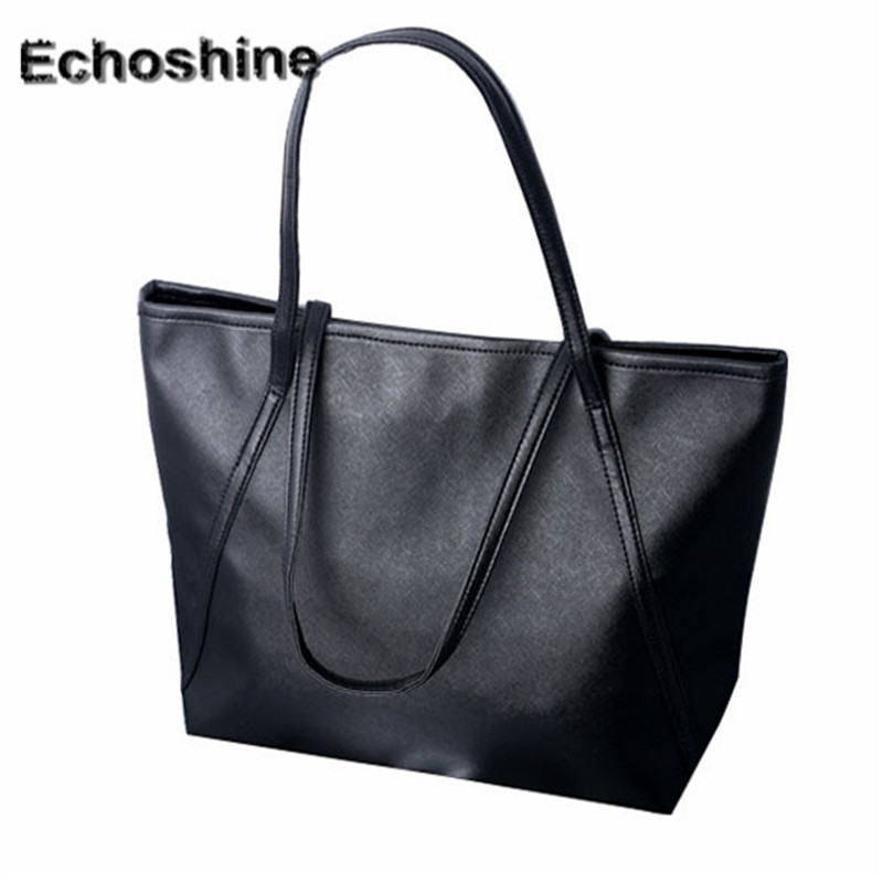 921b545651 2016 Hot Simple Larger Capacity Leather Women shoulder Bag Handbags Tote  solid gift free shipping