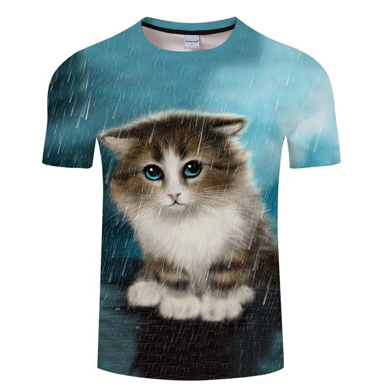 Черная футболка с 3D принтом кота для мужчин и женщин, летняя повседневная футболка с коротким рукавом и круглым вырезом, Топы И Футболки, Забавные футболки, Азиатские размеры S-6XL - Цвет: TXKH3153