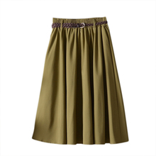 Elegant Women High Waist Pleated Skirt Vintage Fashion A Line Ladies Female Skirts