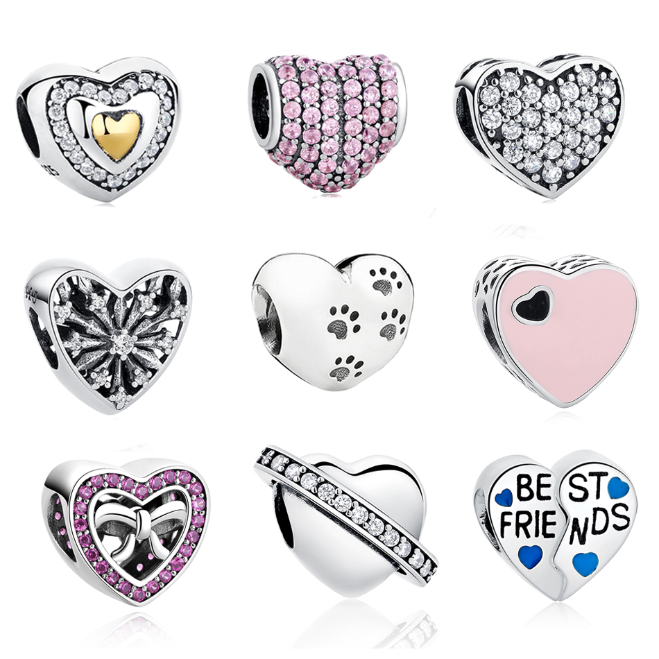 New Fashion Sterling Silver Love Heart Beads Fit Authentic Pandora Charms Bracelet Silver 925 Original Women Jewelry Berloques
