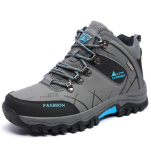GOMNEAR Top Quality Winter Men's Warm Real Wool Hiking Shoes Outdoor Antiskid Winter Trekking Sport Shoes Hiking Sneakers