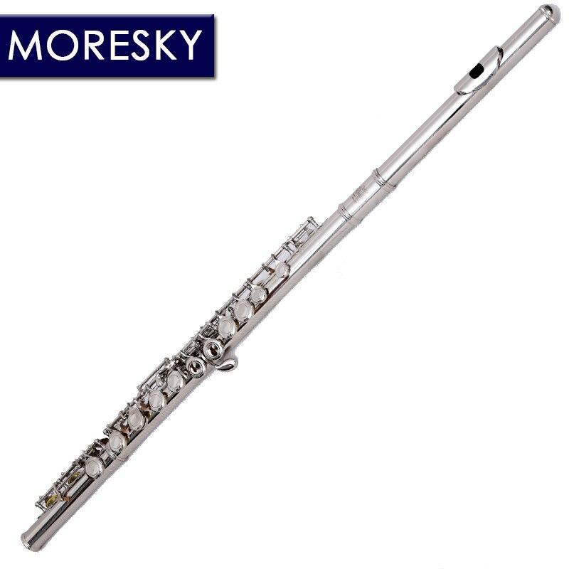 MORESKY 16/17 fermer/ouvrir les trous C clé flûte Cupronickel Nickel/argent plaqué flûte de Concert avec E clé - 2