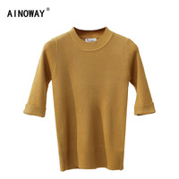 2017 Autumn Winter O Neck Solid Sweater New Thin Shirt Five Sleeve Chic Pullovers Knited Woman