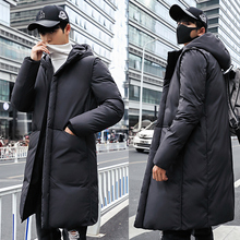 купить Br New Winter Jackets Men Casual Mid Long Thick Winter Coat Men Solid Hooded Parka Male Clothes Overcoat Outerwear plus size 3XL дешево