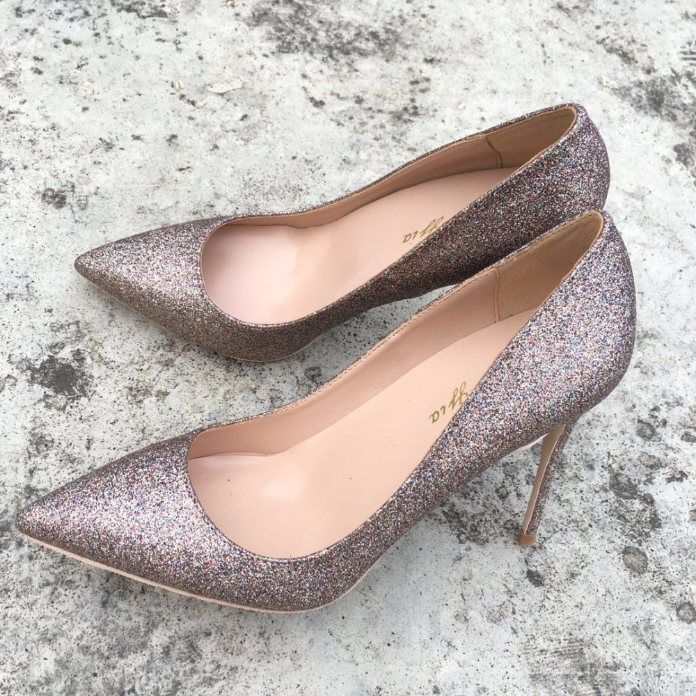 Keshangjia OL Office Lady Shoes Womens High Heels Shoes Gold Sequined Cloth Pumps Woman Dress Shoes
