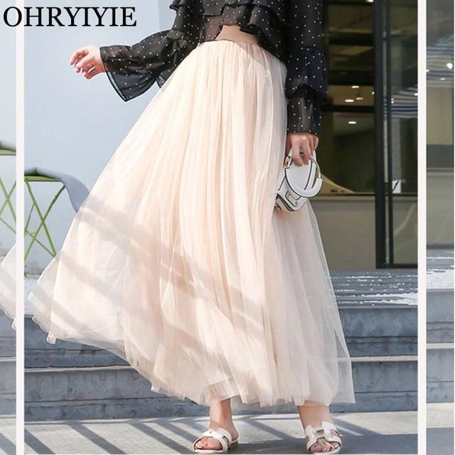 OHRYIYIE Maxi Long Tulle Skirt Women 2021 High Waist Ball Gown Skirts Summer Elastic Waist Adult Tutu Skirts Jupe Longue Femme 1