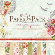 WISHMETYOU 24 Sheets 12*12 Handmade Craft Paper Background Pad DIY Floral Design Scrapbooking Vintage Beautiful Packs