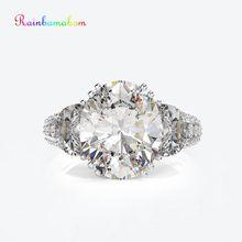 Rainbamabom Vintage 925 Sterling Silver Created Moissanite Gemstone Wedding Engagement Couple White Gold Ring Jewelry Wholesale