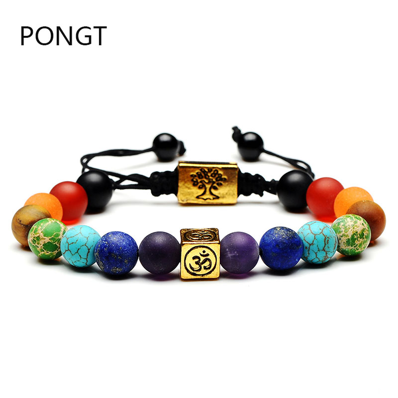 Hot Colorful square Life tree natural stone bracelet 7